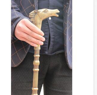 Grandpa Good Lucky Old Folk Chinese Dynasty BRASS Horse Head auspicious Statue Walking Stick Crosier Brass Crafts Arts