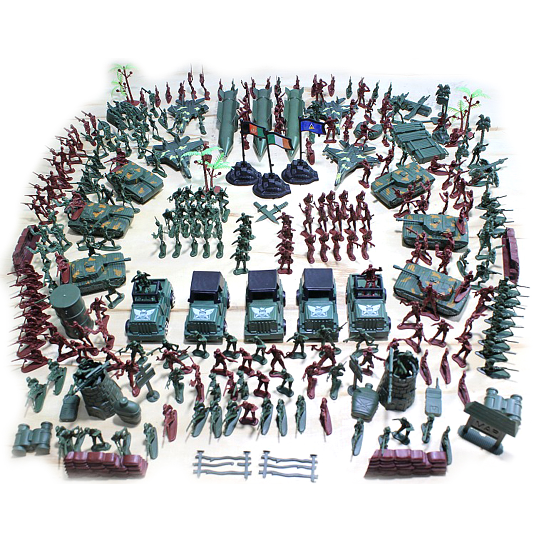 Children Birthday Gift 301Pcs Plastic Soldier Model Doll 5cm World War II Military Puppet Toy Set for Kid Figure Kits