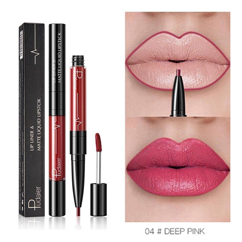 Pudaier 1pc Double-end Matte Lipstick Lip Liner Gloss Long-lasting Waterproof Tattoo Paint Lip Tint Matt Stick Batom lipgloss