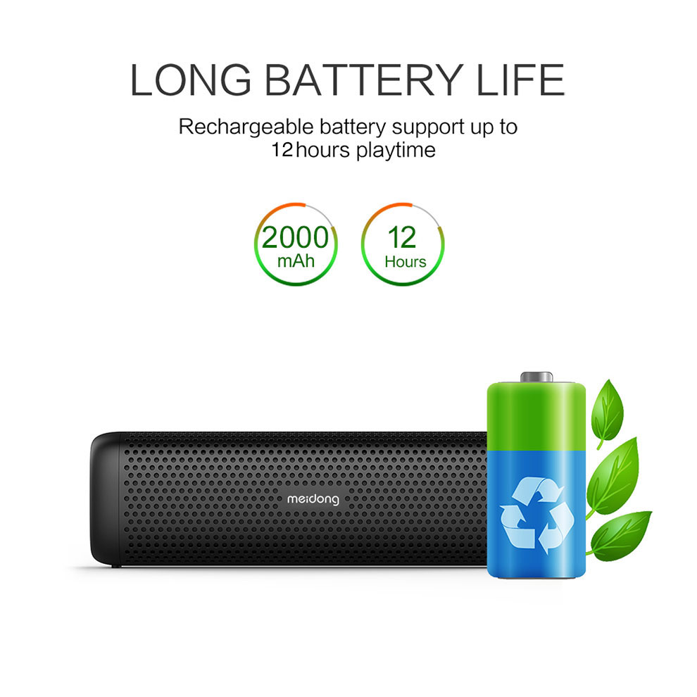 Meidong MD 6110 Wireless Bluetooth Portable Speaker 15W Super bass Loudspeaker Built in microphone 12 Hour Playtime for phone PC in Portable Speakers from Consumer Electronics