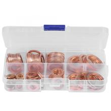 120pcs 1 Box Assorted Solid Copper O-Shape Seal Washer Set Screw Nut Copper Flat Gasket Seal Ring Sump Plug Oil Seal Fittings