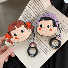Luxury 3D Cartoon Cute Fujiya Peko-Chan Milky Boy Silicone Earphone Case For AirPods 1/2 with Finger Ring Straps Earpod
