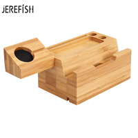 JEREFISH 2 in 1 Mobile Phone Holder 3 USB Charger Storage Universal Wood Charging Dock Stand Fast Charging For Watch for iPhone