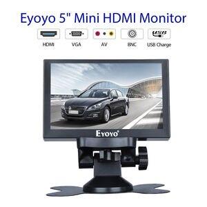 Image 2 - Eyoyo 5 polegada mini monitor hdmi 800x480 vista traseira do carro tft lcd tela de exibição com bnc/vga/av/hdmi saída built in alto falante