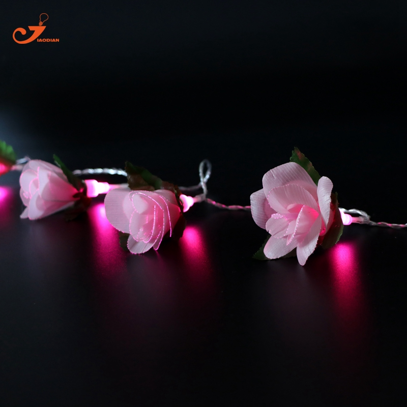 Pink Flower Fairy lights 10pcs LED Rose Romantic Wedding DIY Girl Room Decor Friends Gift String Light for Indoor Decoration