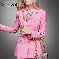 Весенний новый модный розовый костюм пальто, европейский и американский длинный стиль пиджачный костюм женское пальто