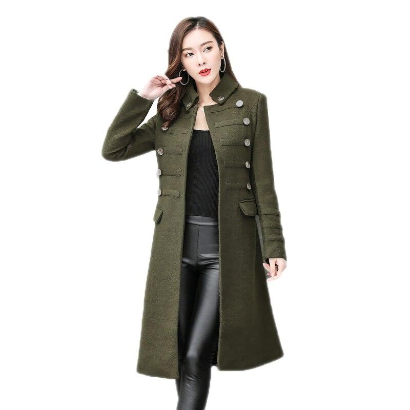 2018 Automne Hiver Mode Femmes Grande Taille 2XL Laine Mélange Manteau Milieu-Long Double Boutonnage Femme Mince Col montant survêtement O269