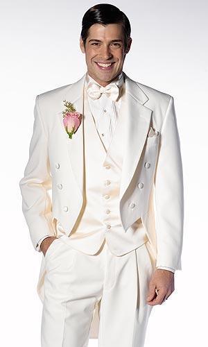 Classic Style Ivory Tailcoat Groom Tuxedos Groomsmen Men's Wedding Prom Suits Bridegroom (Jacket+Pants+Vest+Tie) K:961