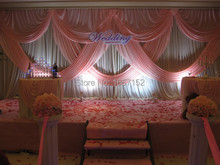 Pink wedding Backdrop Wholesale stage decoration wedding supplies 10ft*20ft Stage Backdrop with Detachable Swag
