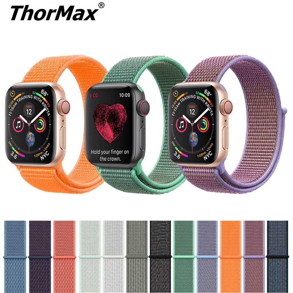 Colors Nylon Sport Loop Strap for Apple Watch 4 Series 3/2 Lightweight Soft Breathable Woven Replacment band 38mm 42mm 40mm 44mm цвета apple watch 4