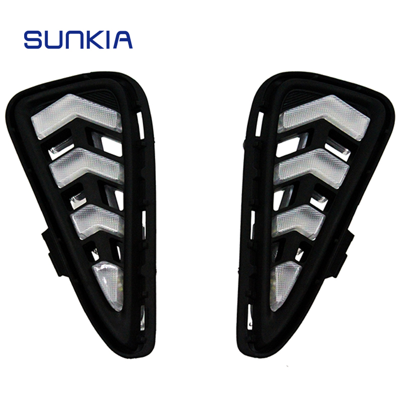 SUNKIA 2Pcs/Pair DRL For Toyota Camry 2015 2016 Daytime Running Light Fog Lamp Car Styling White with Yellow Turn Signal Lamp jgrt car styling 12v turn signal led daytime running light for toyota camry 2015 2016 drl with fog lamp new car styling high