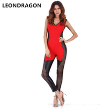 3c180af7a009 Ladies PU Leather Patchwork Summer Party Club Jumpsuits Sleeveless Rompers  Sexy Beach Women Hooded Bodysuits(