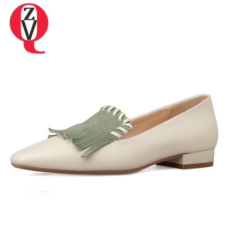Apricot Chaussures green Fringe Mocassins Concise Dames Qualité En L'extérieur Femmes 2019 Bout Véritable Carré Nouveau Printemps Pour Haute Zvq Cuir À Décontracté Plats 1wAfBqf