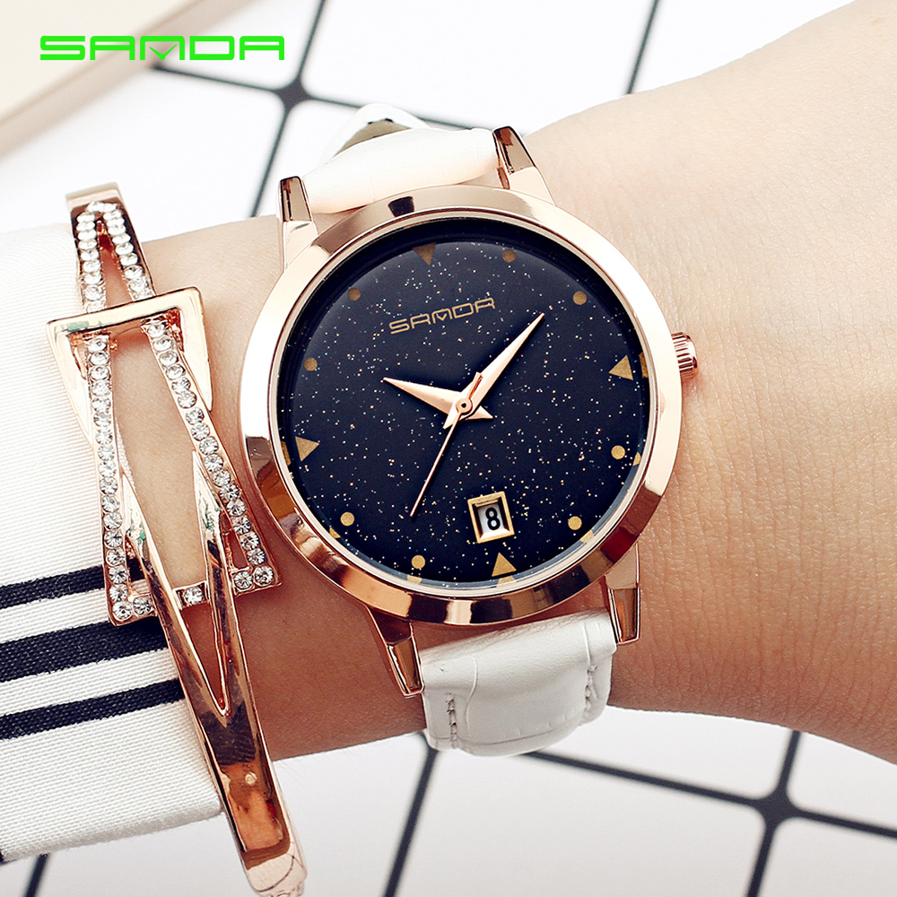 2017 Women Brand Quartz Watch Womens Fashion Dress Watch Ladies Rose gold Star dial Design Leather Strap Watches Female Clock xinge brand fashion women quartz wrsit watches clock leather strap business watch ladies silver luxury female sport womens watch