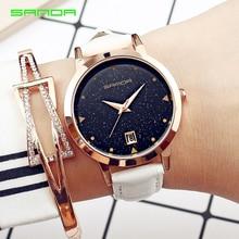 2017 Women Brand Quartz Watch Womens Fashion Dress Watch Ladies Rose gold Star dial Design Leather Strap Watches Female Clock