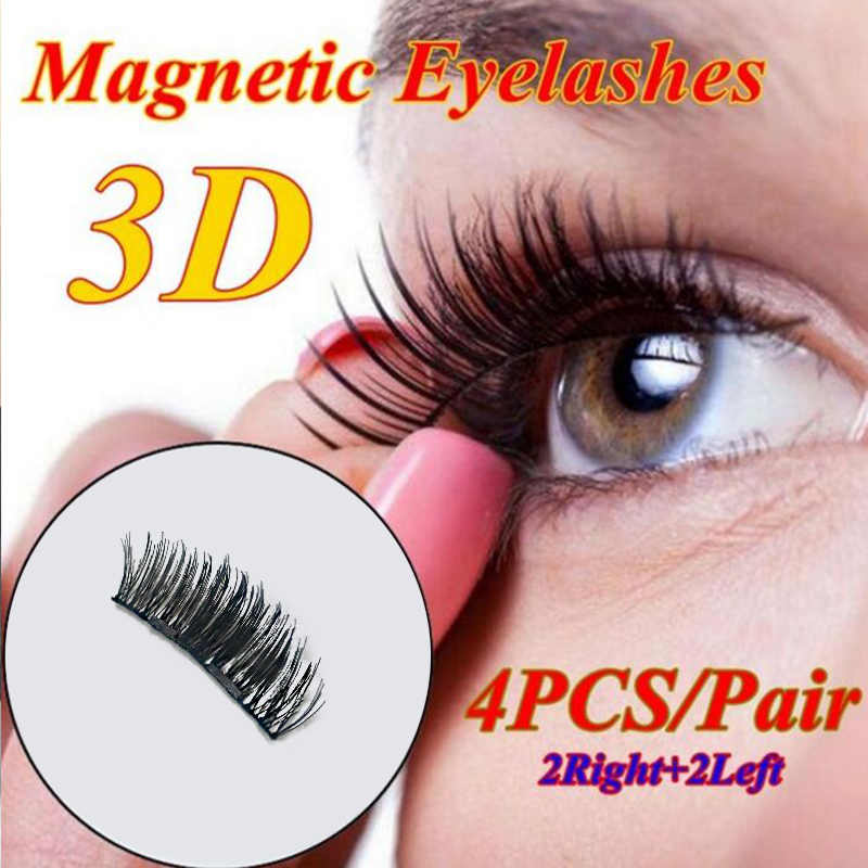 a87f0f11d0b ... 4Pcs/Set Hot Reusable 3D Magnetic False Eyelashes Long Thick Natural  Eyelashes Extension Makeup No ...