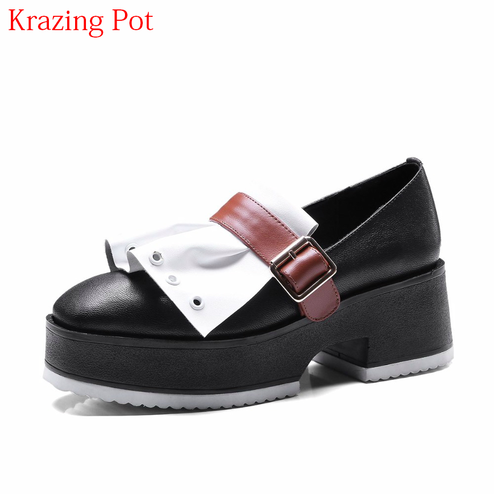 2018 Genuine Leather Mixed Colors High Heels Slip on Buckle Platform Women Pumps Round Toe Runway Round Toe Superstar Shoes L5f1 2018 superstar genuine leather streetwear med heels tassel slip on women pumps round toe retro sweet handmade casual shoes l03