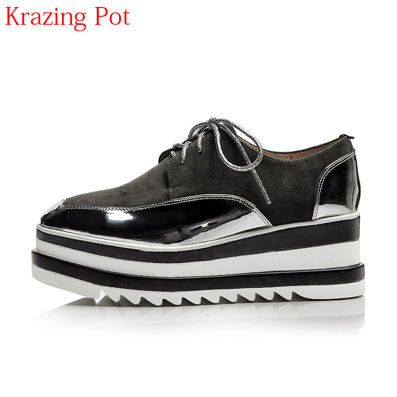 2018 Brand Spring Shoes Kid Suede Runway Platform Wedges High Heels Increased Women Pumps Round Toe Lace Up Casual Shoes L97 xiaying smile woman pumps shoes women spring autumn wedges heels british style classics round toe lace up thick sole women shoes