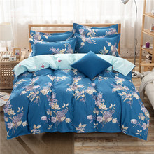 Flower Pattern Blue Duvet Cover 3/4 pcs Bedding Set Couple Big Size Kids Child Soft Cotton Bed Linens Single Queen King Bedlinen(China)