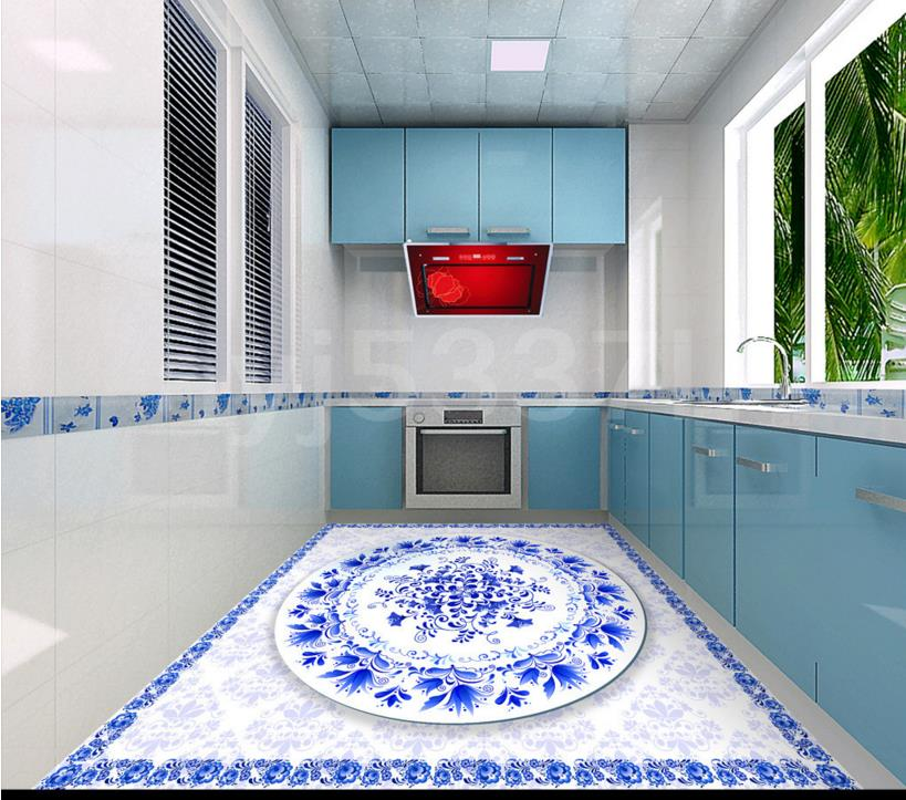 Us 48 98 Custom 3d Floor Decals Blue And White Floor Murals Wear Non Slip Self Adhesive Pvc Vinyl Floor Tile In Wallpapers From Home Improvement On