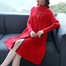 Новинка, женское весенне-осеннее платье-свитер, женский длинный свитер, зимние топы с круглым вырезом, яркие цвета, вязанное платье с разрезом, d046