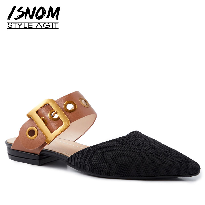 ISNOM Genuine Leather Slippers Woman Buckle Pointed Toe Footwear Fashion Casual Slides Shoes Female Mules Shoes