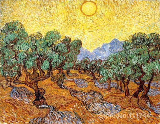 Gemälde von Vincent Van Gogh Bäume mit Yellow Sky und