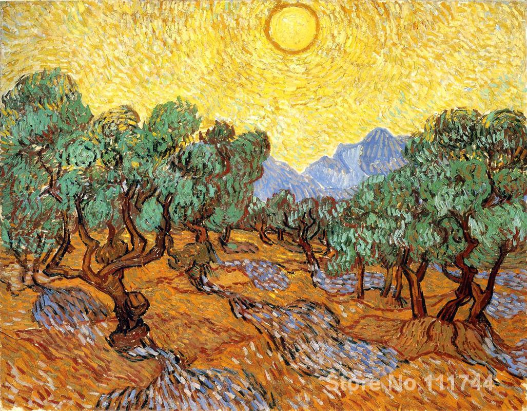 Peintures de Vincent Van Gogh oliviers avec ciel jaune et