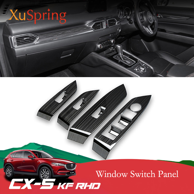 Car Window Switch Panel Adjust Cover Trim Stickers Strips Garnish Decoration For <font><b>Mazda</b></font> <font><b>CX</b></font>-<font><b>5</b></font> CX5 2017 <font><b>2018</b></font> Kf RHD Car-<font><b>accessories</b></font> image