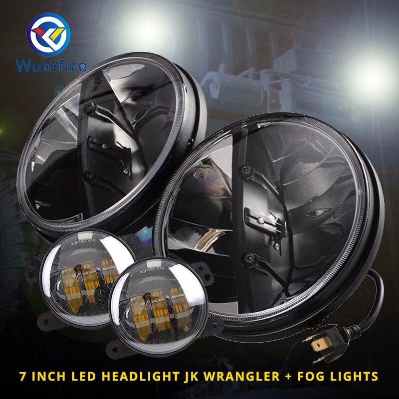 7 inch <font><b>LED</b></font> Car Headlight with 2Pcs Fog Lights Round Headlights 7 inch Headlamp <font><b>Off</b></font> <font><b>Road</b></font> 7&#8243; <font><b>LED</b></font> Head Light Lamp For Jeep/Truck