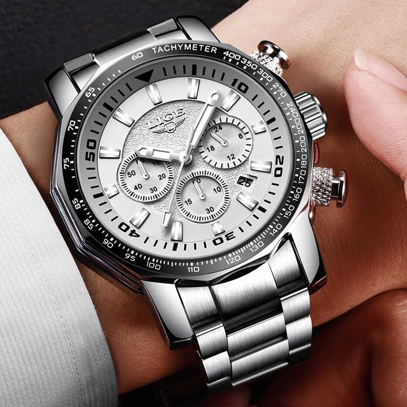 LIGE hommes montres mode Sport Quartz grand cadran horloge tout acier Top marque de luxe militaire étanche homme montre Relogio Masculino