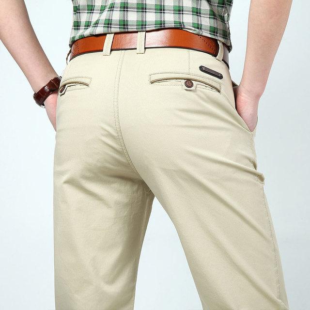 3 Cores 30 ~ 44 2017 Primavera Verão Homem Dos Homens Plus Size Calças De Algodão Preto Longo Calças Casuais Retas Formais negócio Pantalones