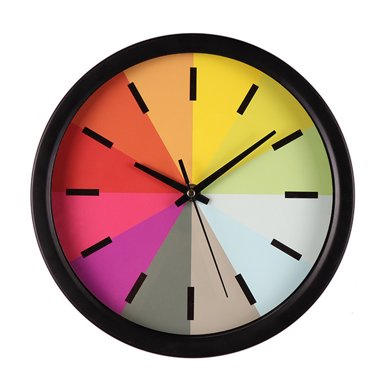 Large Wall Clock Round Silent Sweep Rainbow Round Wall