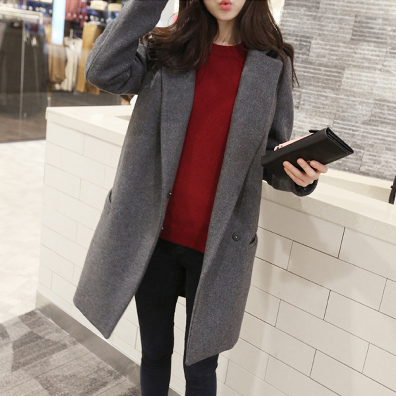 Women Autumn Winter Coat Long Sleeve One Button Medium Long Wool Coat Loose Warm Woolen Coat