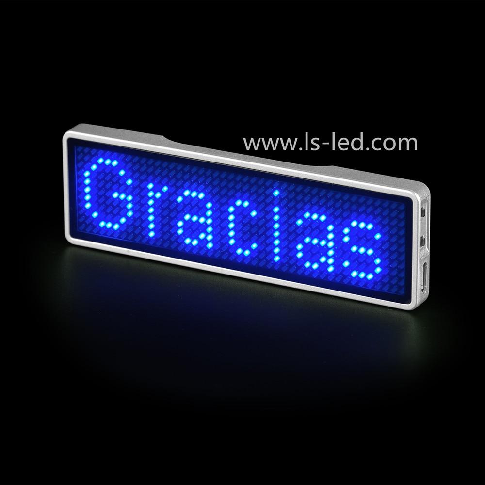 Bluetooth Programmable Blue Led Name Tag Led Name Badge