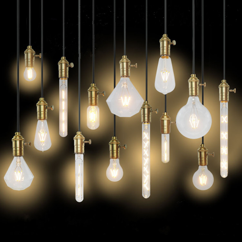 цены  Edison screw socket bulb E27 E14 imitation tungsten wire transparent light bulb LED bulbs retro light bulb decorative lights