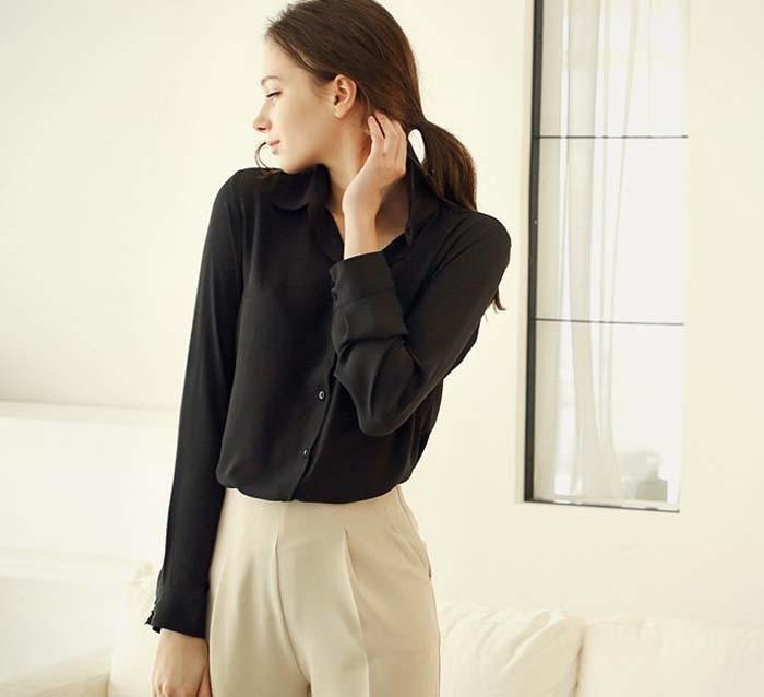1PC Women Chiffon Blouse Long Sleeve Shirt Women Tops Office Lady Blusas Femininas Camisas Mujer Z231 4
