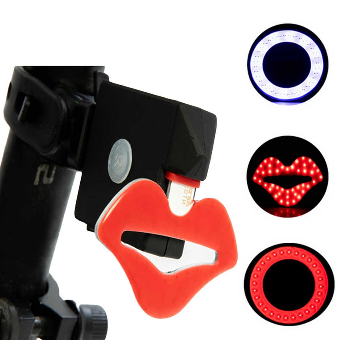 Новое поступление личность губы круговой велосипед свет USB перезарядка водостойкий велосипед COB задний фонарь ночной Предупреждение лампа