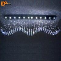 new wave design long crystal chandelier lamp lustre hotel lobby light plafon de cristal lighting