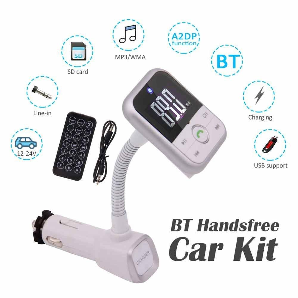 Vanjew Bt70 Car Bluetooth Fm Transmitter Modulator Transmiter 2 Usb Bt20 Dual Charger Mp3 Wma Audio Hands Free Call 5v 34a Support Tf Card Music Pl Player 32gb With Transmit Remote Control 35mm