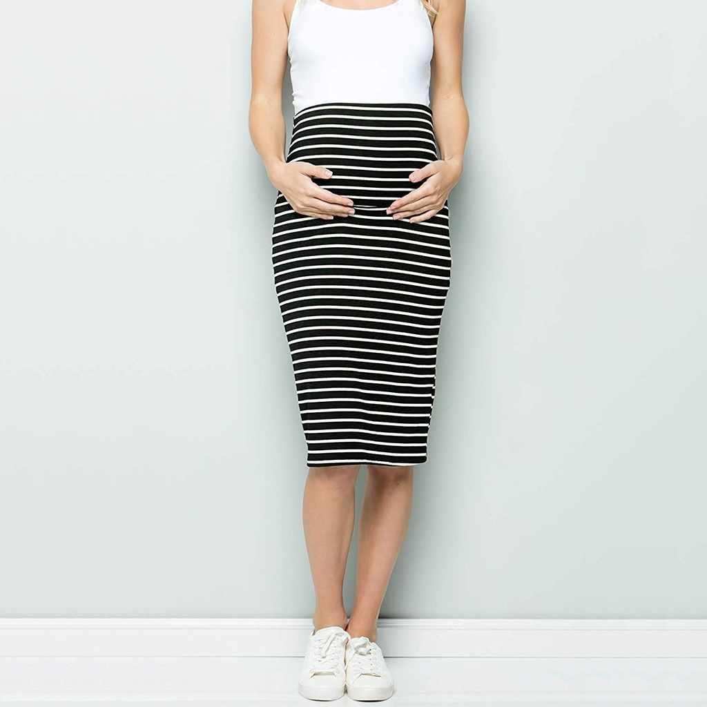 Vrouwen Moederschap Rok Nieuwe Mode Vrouwen Moederschap Comfort Hoge Waisted Tummy Controle Streep Potlood Rok Moederschap Jurk