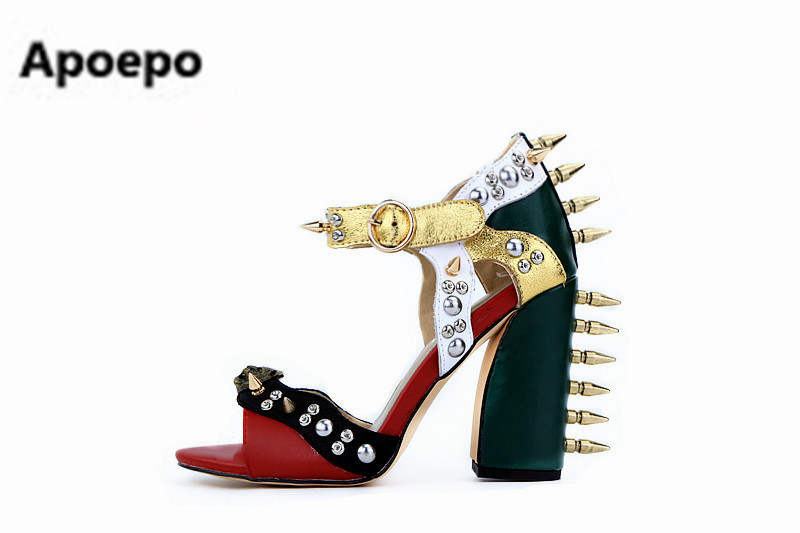 Apoepo Mixed color high square thick heel buckle strap metal rivets and beautiful crystal decorated party woman sandals big size rakesh kumar tiwari and rajendra prasad ojha conformation and stability of mixed dna triplex