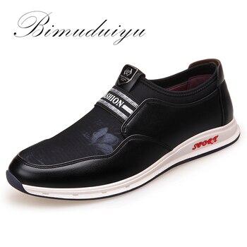 c161291ca68 BIMUDUIYU marca de moda Slip-On zapatos casuales de los hombres de cuero de  microfibra