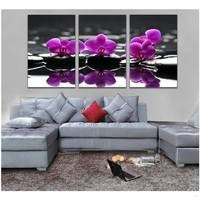Modern Oil Painting Canvas 3 Piece Wall Art Purple Flower Pictures Living Room Bedroom Decoration Unique Gift Hanging Wall Art