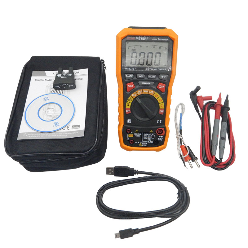 Digital display multimeter MS8236 Auto Range Auto Power off Digital Multimeter with Temperature Test and Data Logger multimeter test leads digital auto range