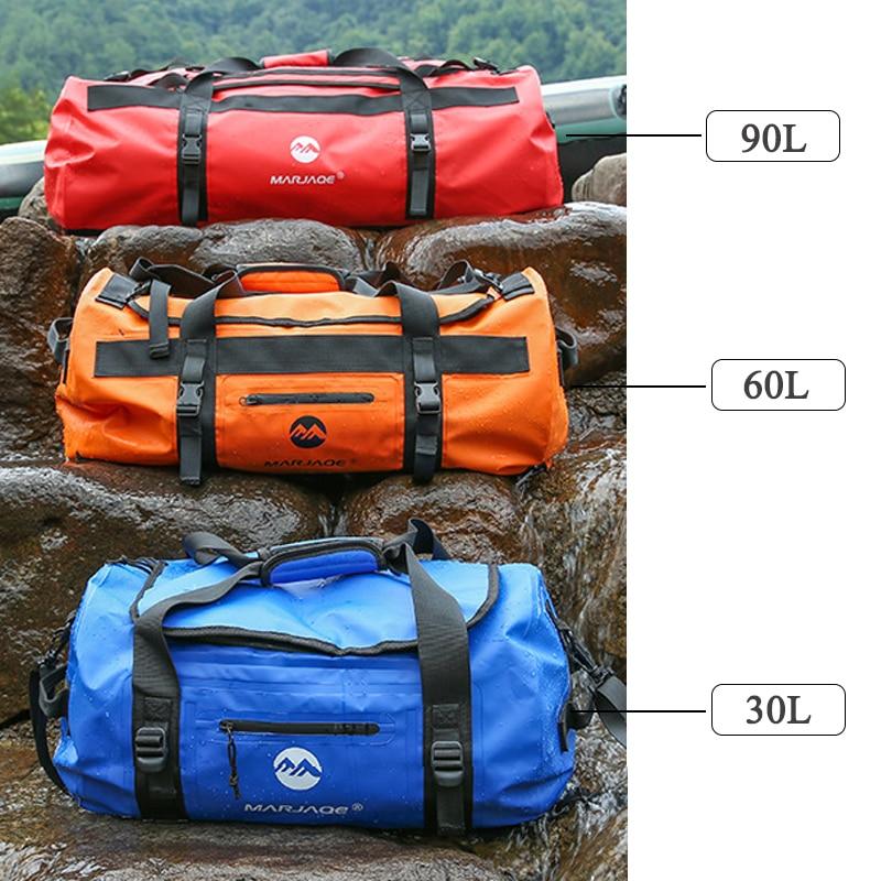 30/60/90L sac imperméable extérieur de PVC sac de stockage de sac sec pour le Rafting canoë canotage kayak rivière Trekking natation sac de voyage - 3