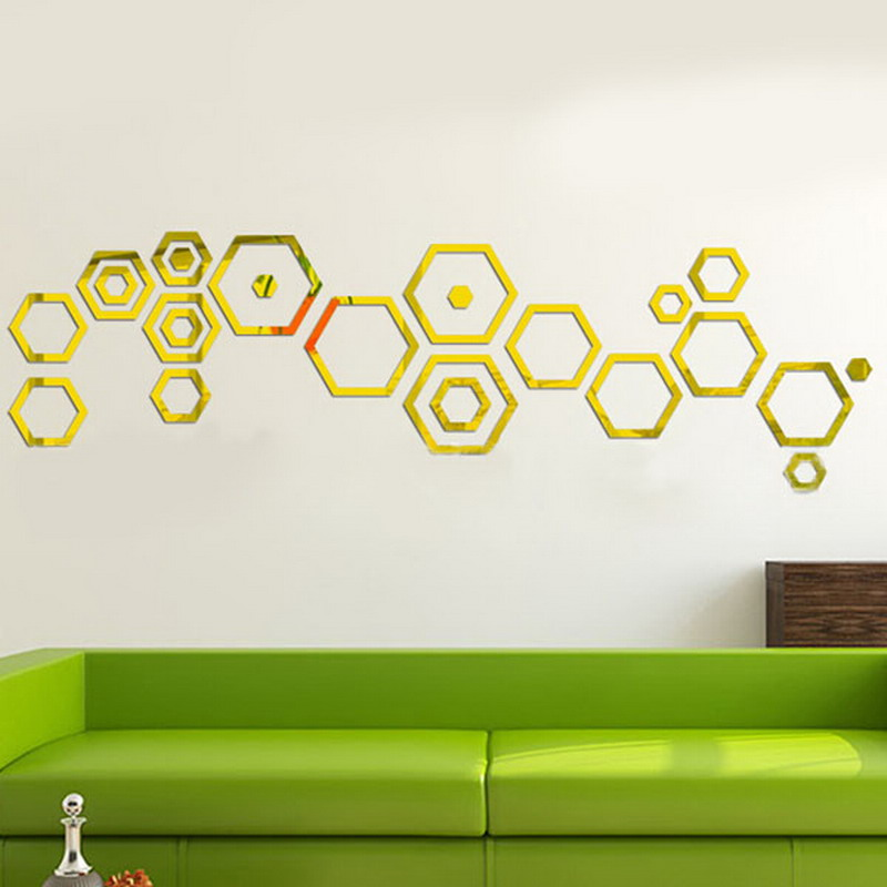 Online get cheap hexagon mirror alibaba for Cheap wall mural decals