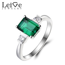 Leige Jewelry Emerald Ring Emerald Wedding Ring May Birthstone Ring Green Gemstone Solid 925 Sterling Silver Gifts for Women