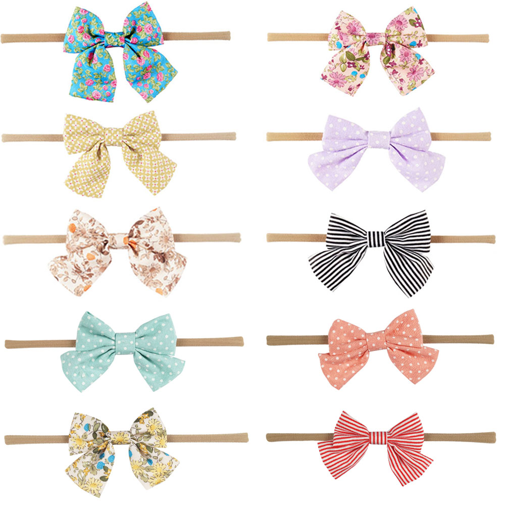 3Pcs/lot Lovely Printed Floral Fabric Bow Headband Striped Dots Knot Elastic Nylon Hair Band For Girl Children Headwear taoffen women high heels shoes women thin heeled pumps round toe shoes women platform weeding party sexy footwear size 34 39