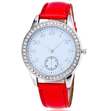 New Fashion women watches Crystal Leather Ladies Watch Luxury brand woman quartz watch High quality bracelet Watch dial